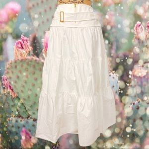 MISSONI white boho tiered belted midi skirt